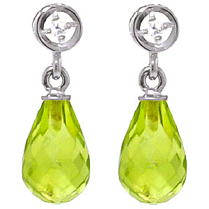 Peridot and Diamond Droplet Earrings 2.7ctw in 9ct White Gold