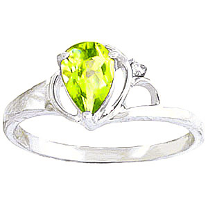 Peridot and Diamond Ring 0.65ct in 9ct White Gold