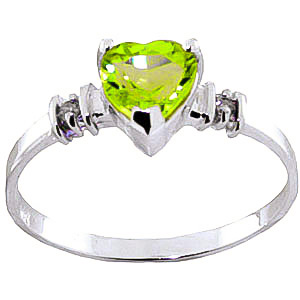 Peridot and Diamond Ring 0.95ct in 9ct White Gold