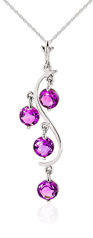 Image of Pink Topaz Dream Catcher Pendant Necklace 2.25ctw in 9ct White Gold