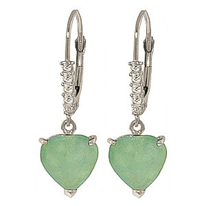 Diamond and Emerald Drop Earrings in 9ct White Gold