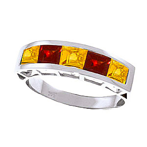 Citrine and Garnet Ring 2.25ctw in 9ct White Gold