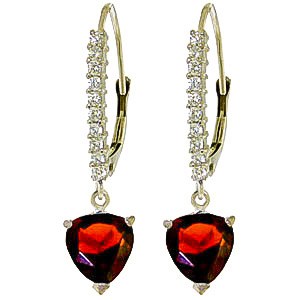 Diamond and Garnet Laced Drop Earrings in 9ct White Gold