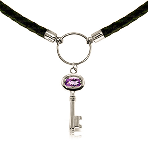 Amethyst Key Charm Leather Pendant Necklace 0.5ct in 9ct White Gold
