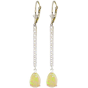 Diamond and Opal Bar Drop Earrings in 9ct White Gold