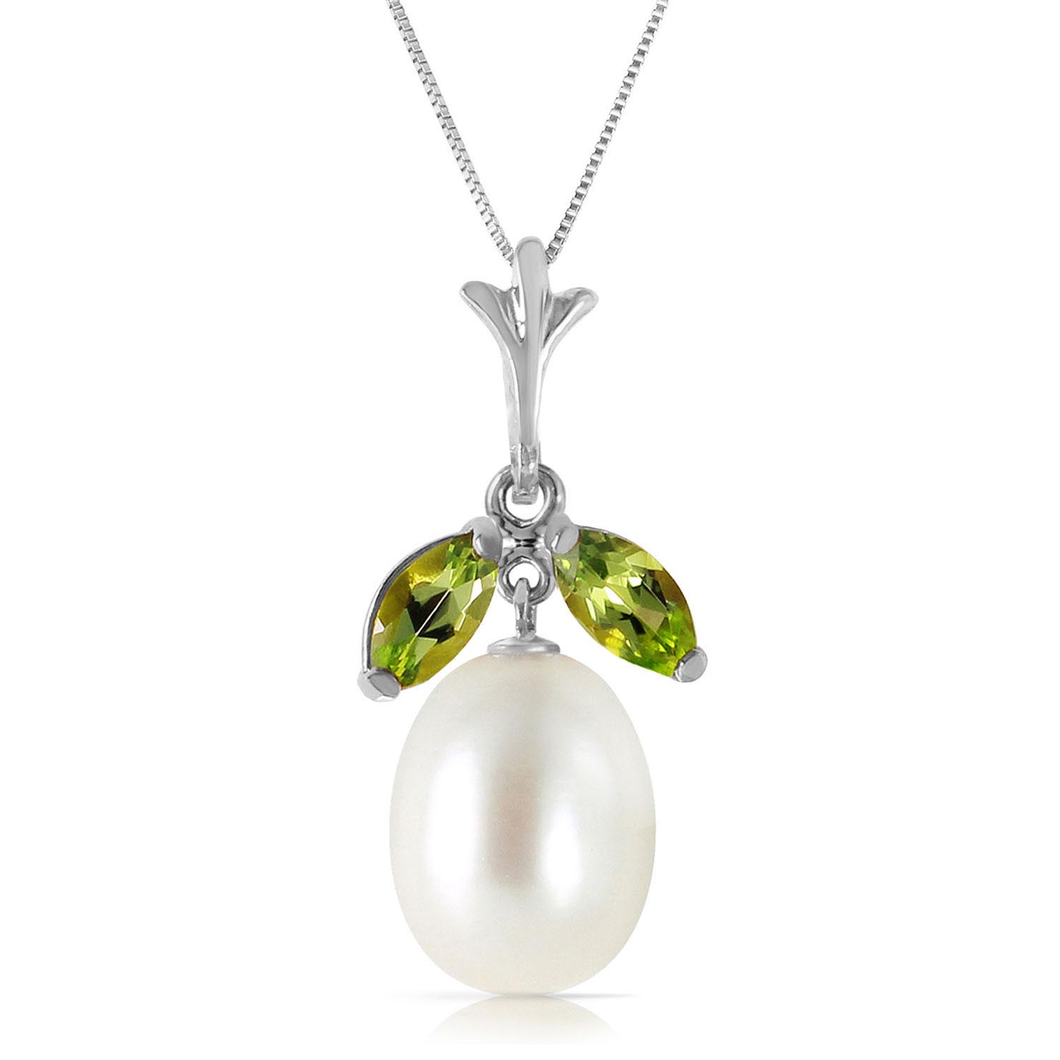 Pearl and Peridot Pendant Necklace 4.5ctw in 9ct White Gold 3111W