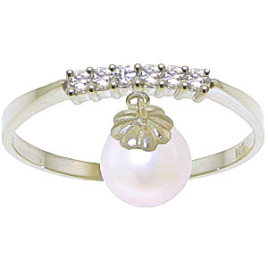 Diamond and Pearl Droplet Ring in 9ct White Gold