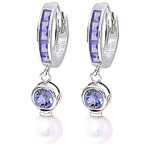 Tanzanite and Pearl Huggie Earrings 4.65ctw in 9ct White Gold