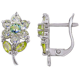 Aquamarine and Peridot Flower Petal Stud Earrings 2.12ctw in 9ct White Gold