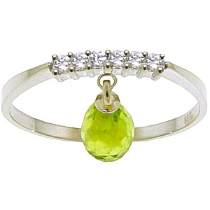 Diamond and Peridot Ring in 9ct White Gold