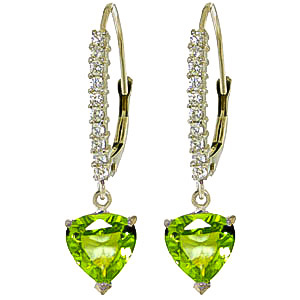 Diamond and Peridot Laced Drop Earrings in 9ct White Gold