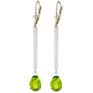 Diamond and Peridot Bar Drop Earrings in 9ct White Gold