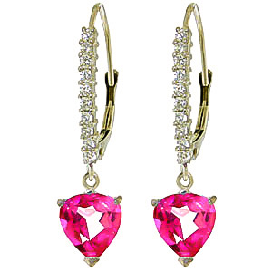 Diamond and Pink Topaz Laced Drop Earrings in 9ct White Gold