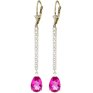 Diamond and Pink Topaz Bar Drop Earrings in 9ct White Gold