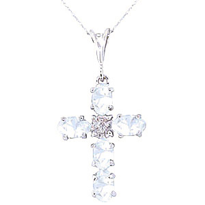 Aquamarine and Diamond Rio Cross Pendant Necklace 1.73ctw in 9ct White Gold