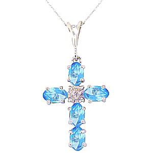 Blue Topaz and Diamond Rio Cross Pendant Necklace 1.73ctw in 9ct White Gold