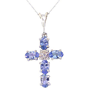 Tanzanite and Diamond Rio Cross Pendant Necklace 1.73ctw in 9ct White Gold