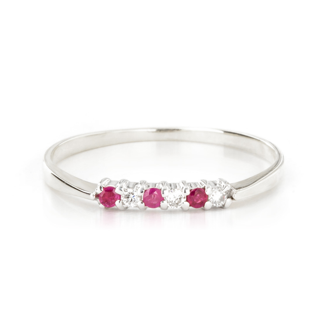 Diamond and Ruby Ring in 9ct White Gold