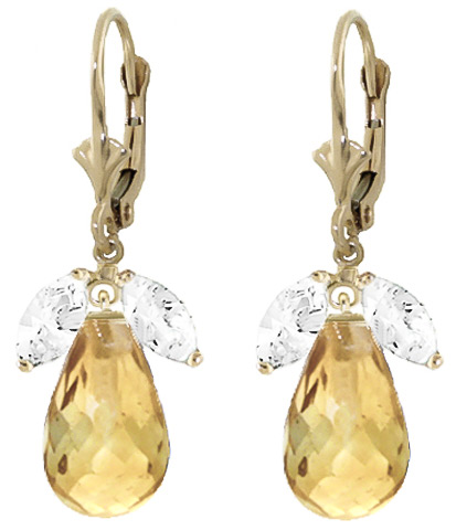 White Topaz & Citrine Drop Earrings in 9ct Gold