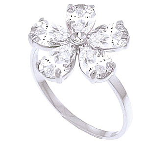 White Topaz & Diamond Five Petal Ring in Sterling Silver
