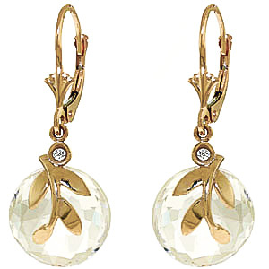 White Topaz & Diamond Olive Leaf Drop Earrings in 9ct Gold