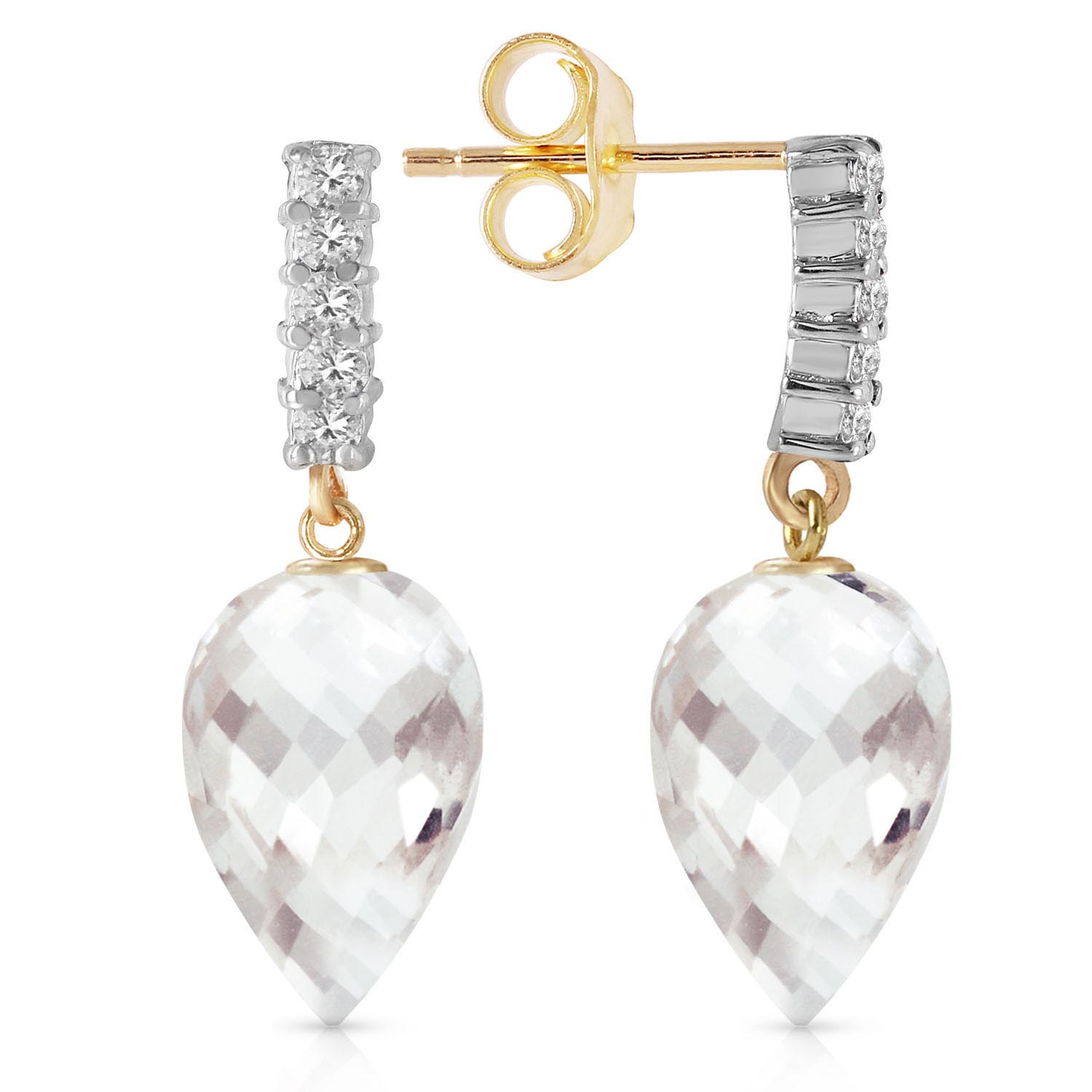 White Topaz & Diamond Stem Droplet Earrings in 9ct Gold