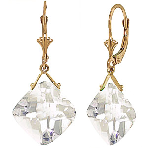 White Topaz Deflection Drop Earrings 17.5 ctw in 9ct Gold