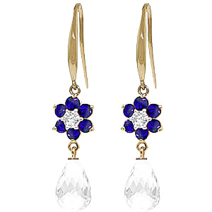 White Topaz, Diamond & Sapphire Daisy Chain Drop Earrings in 9ct Gold