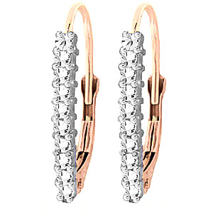 White Topaz Drop Earrings 0.45 ctw in 9ct Rose Gold