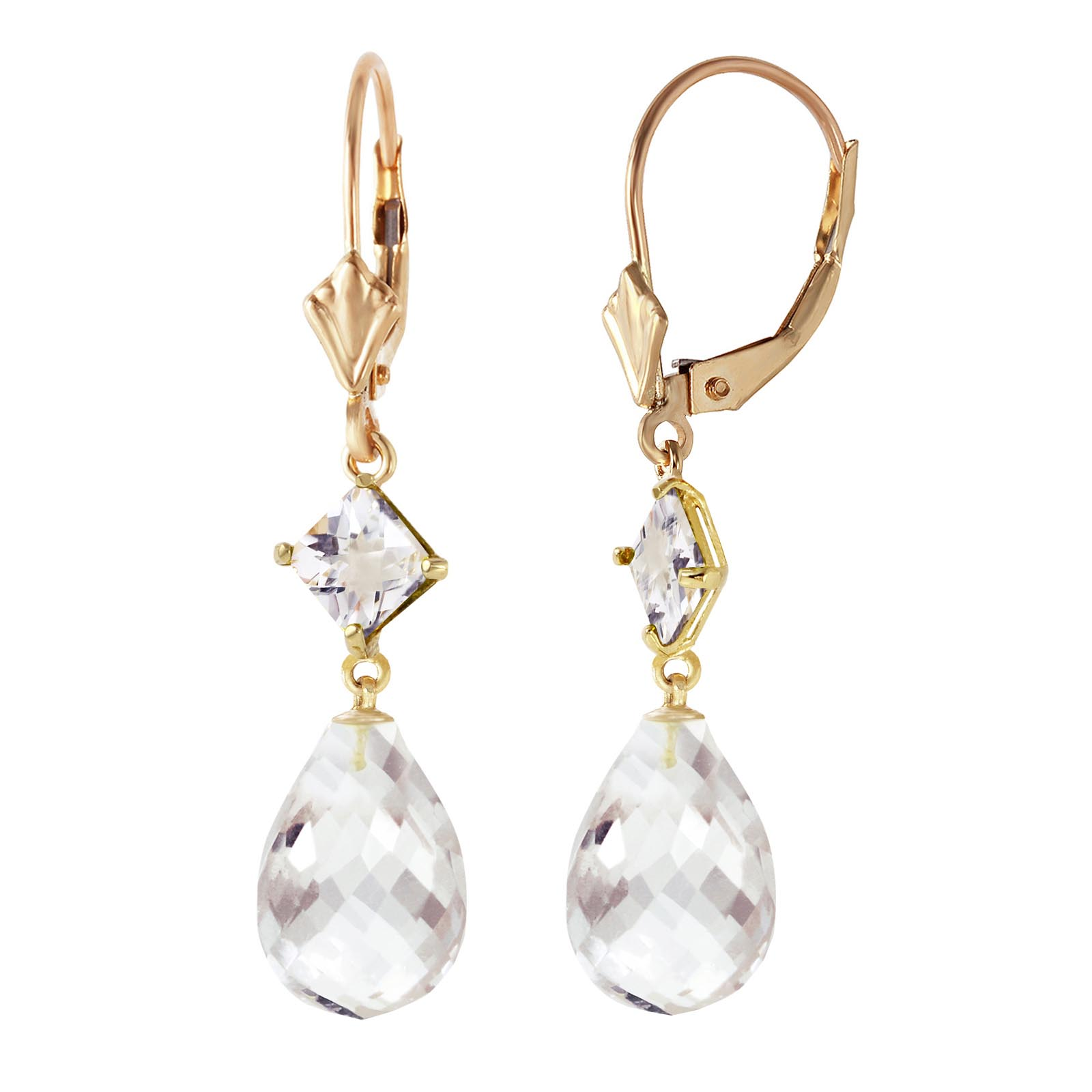 White Topaz Drop Earrings 11 ctw in 9ct Gold