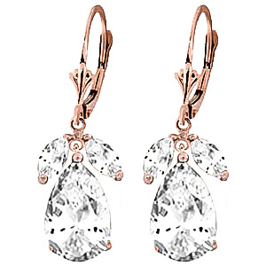White Topaz Drop Earrings 13 ctw in 9ct Rose Gold