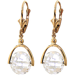 White Topaz Drop Earrings 7.5 ctw in 9ct Gold