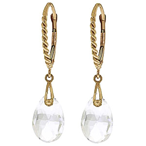 White Topaz Plait Stem Drop Earrings 6 ctw in 9ct Gold