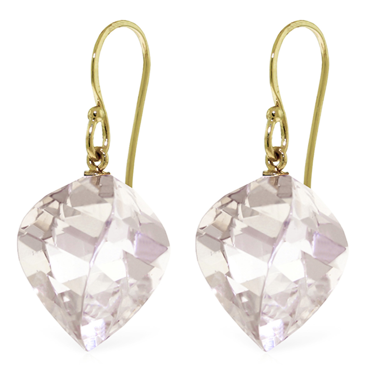 White Topaz Spiral Briolette Drop Earrings 25.6 ctw in 9ct Gold