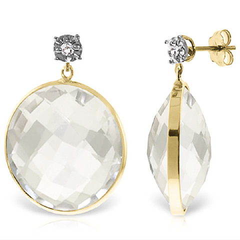 White Topaz Stud Earrings 36.06 ctw in 9ct Gold
