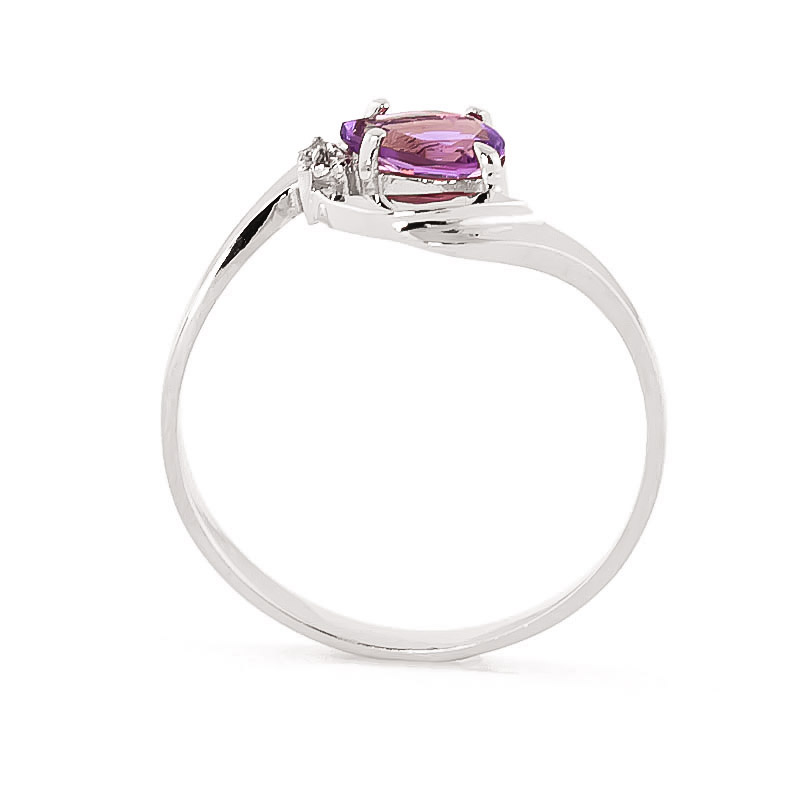 14k white gold amethyst flare ring 1330w qp