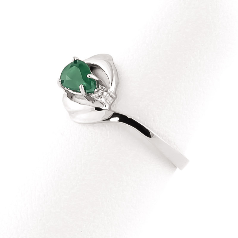 14k white gold emerald flare ring 2117w qp