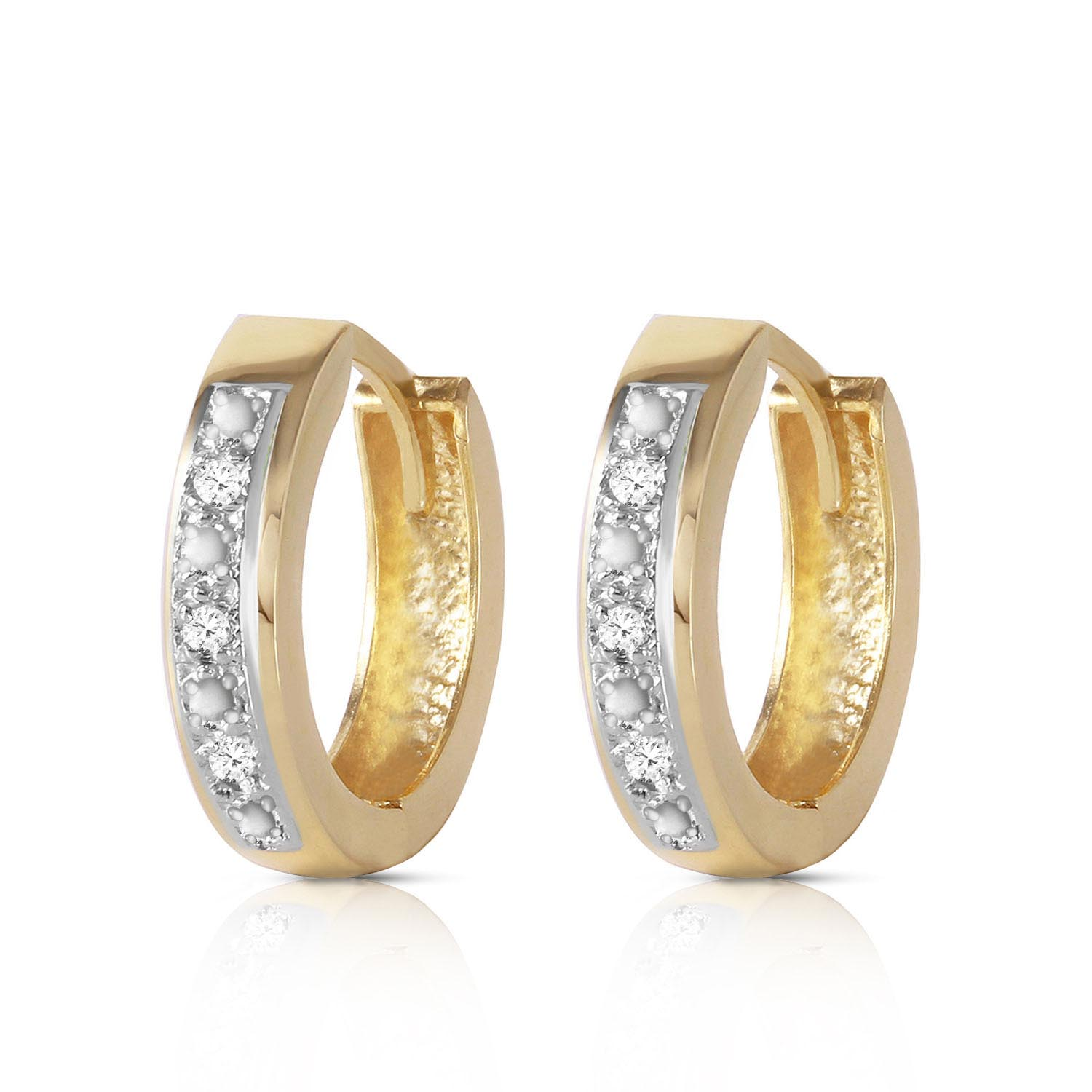 Diamond Huggie Earrings in 9ct Gold