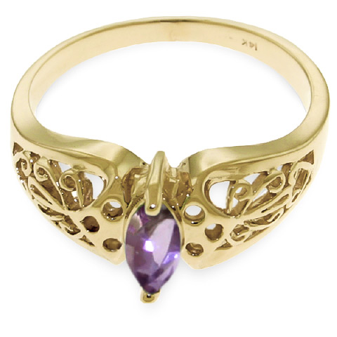 Marquise Cut Amethyst Filigree Ring 0.2ct in 14K Gold