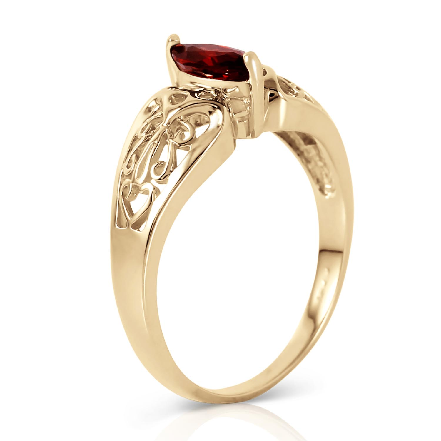 Marquise Cut Garnet Filigree Ring 0.2ct in 14K Gold