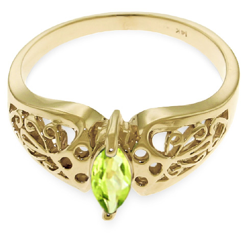 Marquise Cut Peridot Filigree Ring 0.2ct in 14K Gold