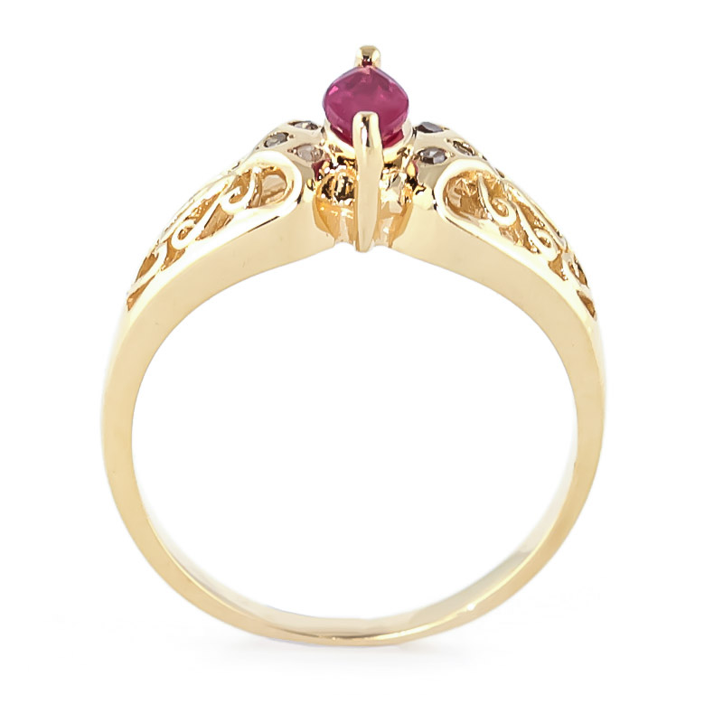 Marquise Cut Ruby Filigree Ring 0.2ct in 14K Gold