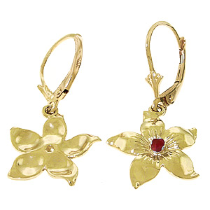 Ruby Flower Star Drop Earrings 0.2ctw in 9ct Gold