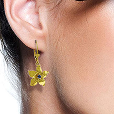 Sapphire Flower Star Drop Earrings 0.2ctw in 9ct Gold