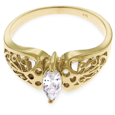 Marquise Cut White Topaz Filigree Ring 0.2ct in 14K Gold
