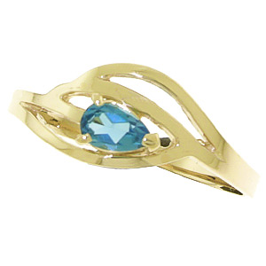 Pear Cut Blue Topaz Ring 0.3ct in 9ct Gold