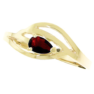 Pear Cut Garnet Ring 0.3ct in 14K Gold