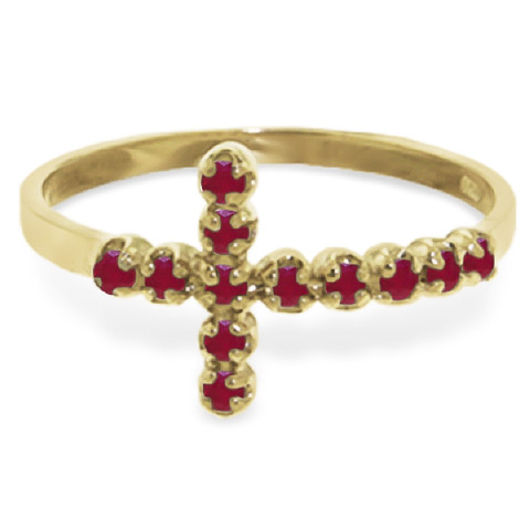 Ruby Cross Ring 0.3ct in 14K Gold