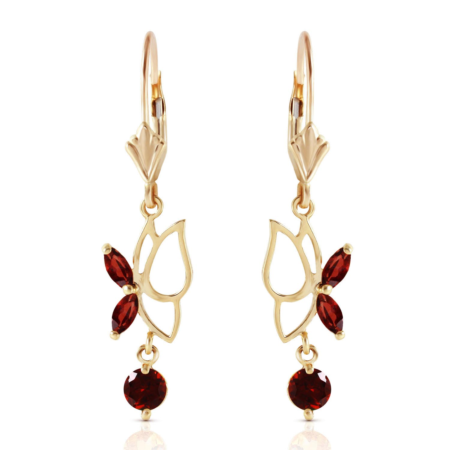 Garnet Butterfly Drop Earrings 0.35ctw in 9ct Gold