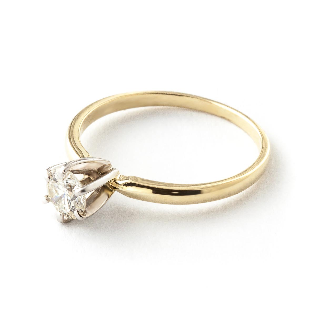 Round Brilliant Cut Diamond Solitaire Ring in 14K Gold